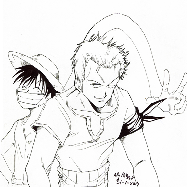 zoro and luffy by AllyMcBeal