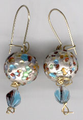 Blue Speckled Earrings by GlassEyeWisconsin