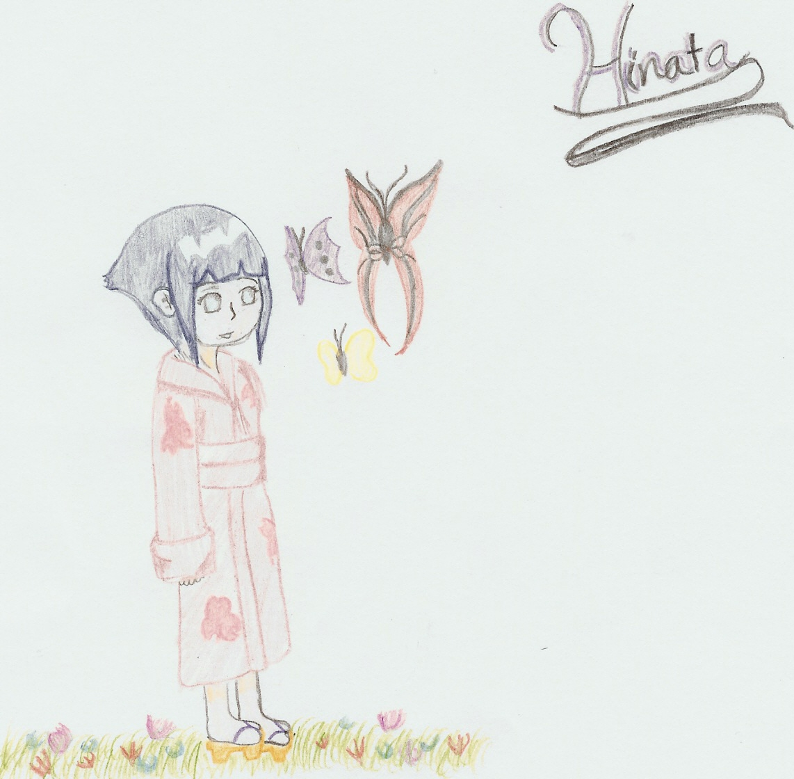 Hinata in a Feild of Butterflies by 1mangalover