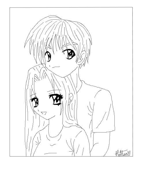 Anime Couples Lineart. Kawaii Shoujo Couple Lineart