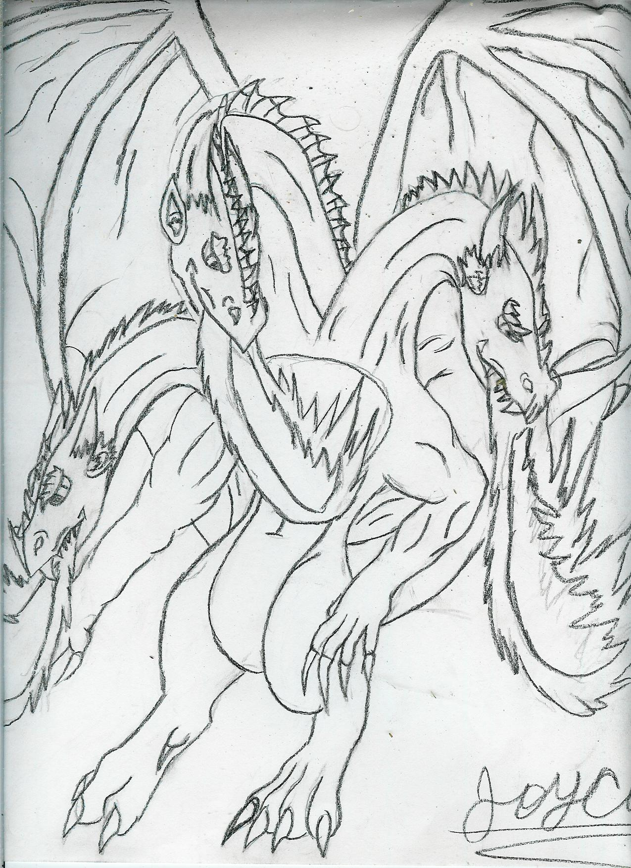 three headed dragon!(request for kingdomhearter307 by AlphaTimberWulf