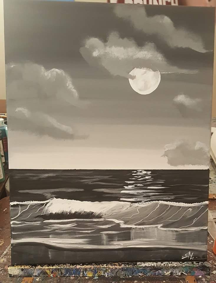 Black and White Night time Sea Painting by Aoi_Hono