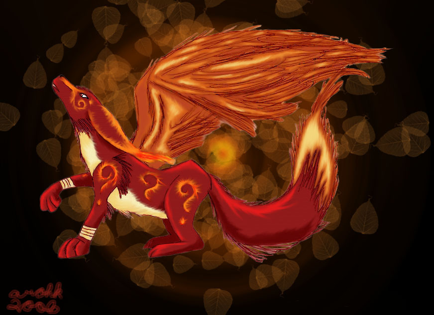 Fire Fox With Background by Arohk