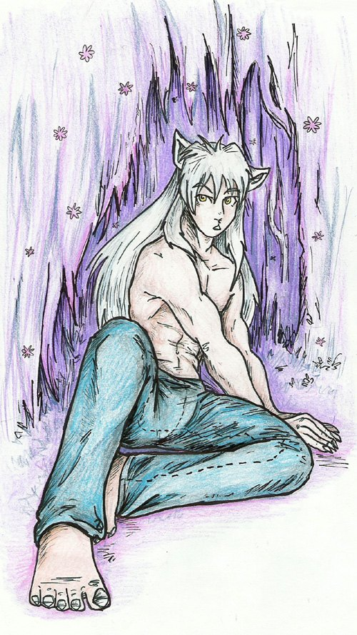Inuyasha boy with jeans by AthaMaarit