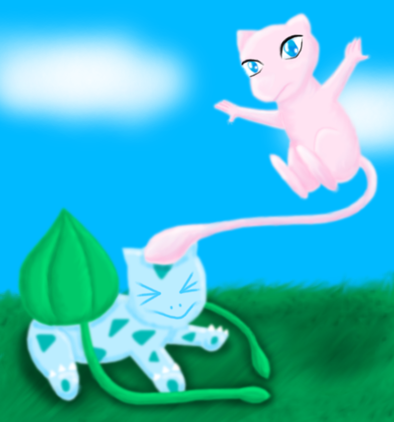 Mew vs Bulbasaur by AzureMikari