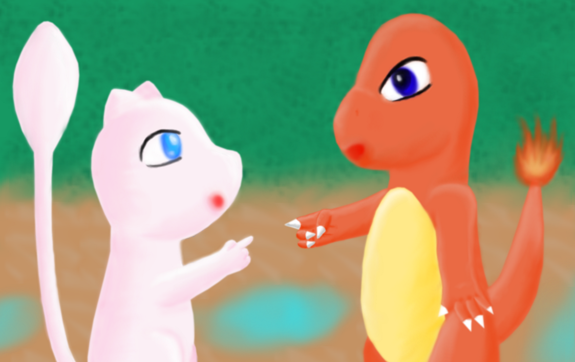 Mew and Charmander by AzureMikari
