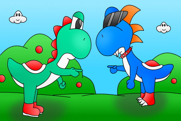 Yoshi vs Boshi colored by AzureMikari