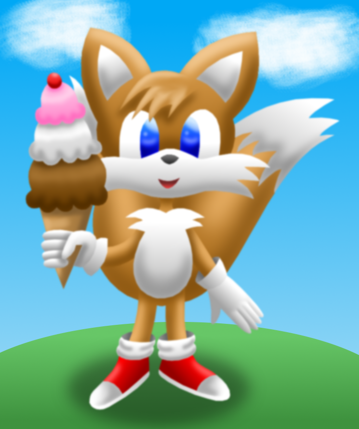 Tails (Sonic) colored lineless by AzureMikari