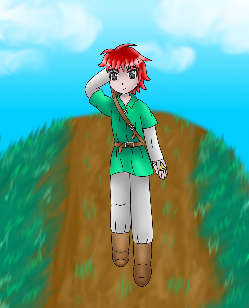 Adol (Ys) dressed as Link by AzureMikari