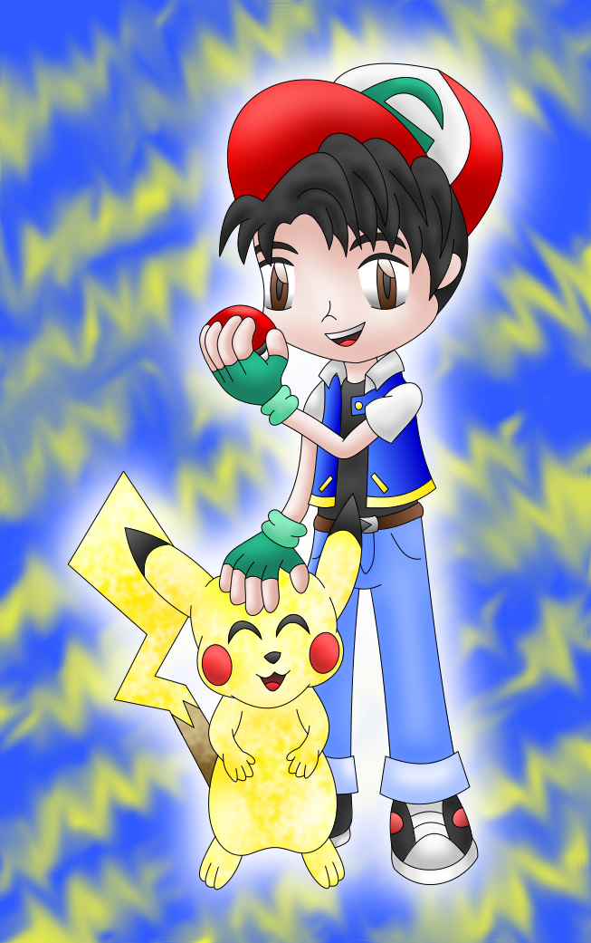Ash and Pikachu colored by AzureMikari
