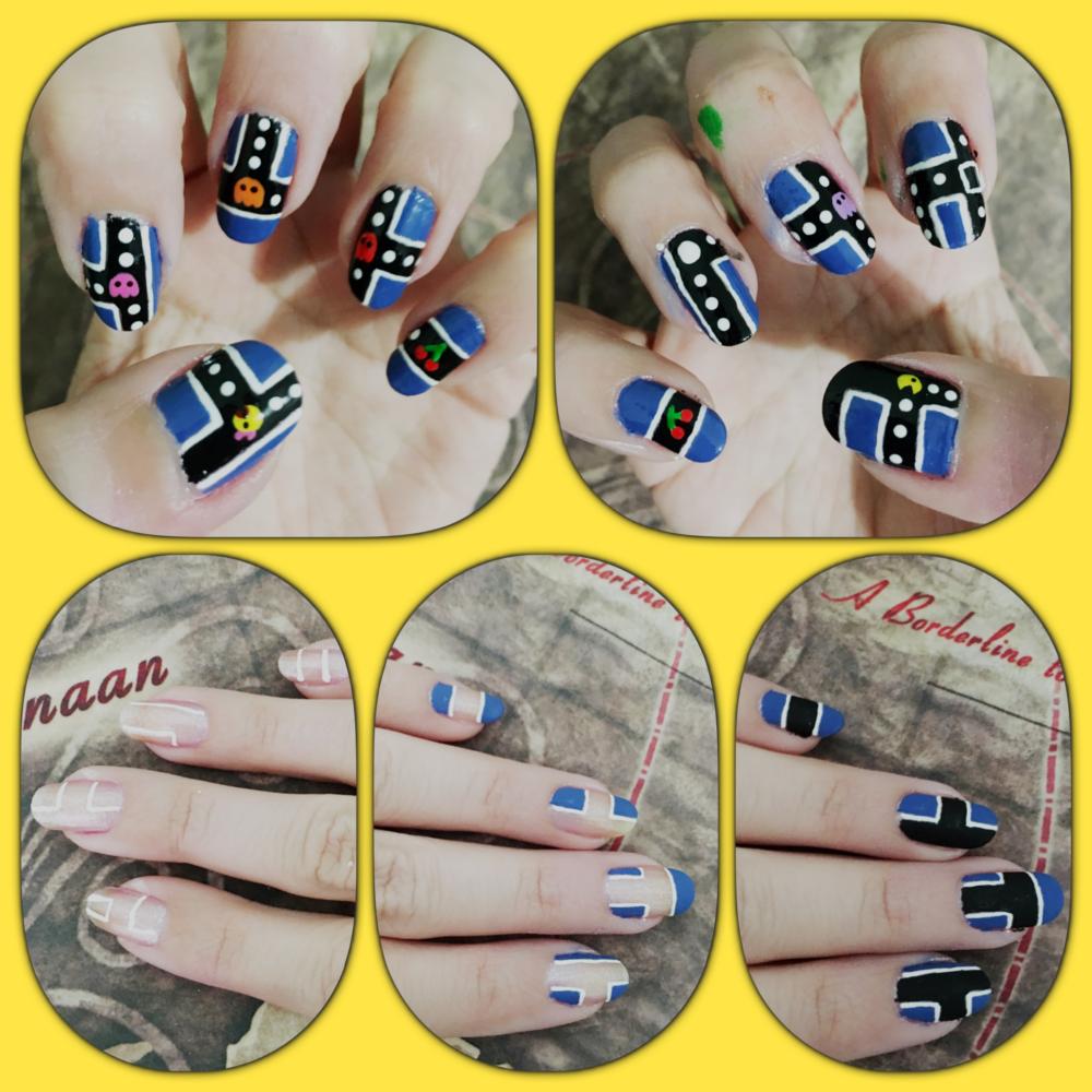 Pacman manicure WIP by AzureMikari