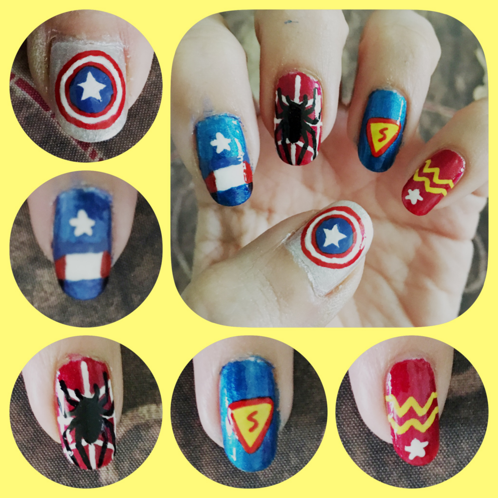 Super Hero Nail Art left by AzureMikari