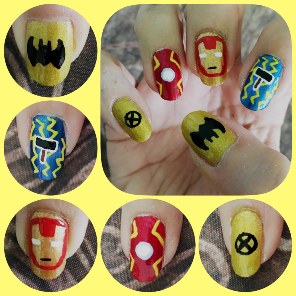 Super Hero Nail Art right by AzureMikari