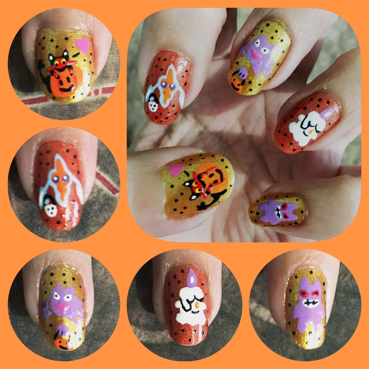 Halloween Ghosts Pokemon Nail Art 1 by AzureMikari