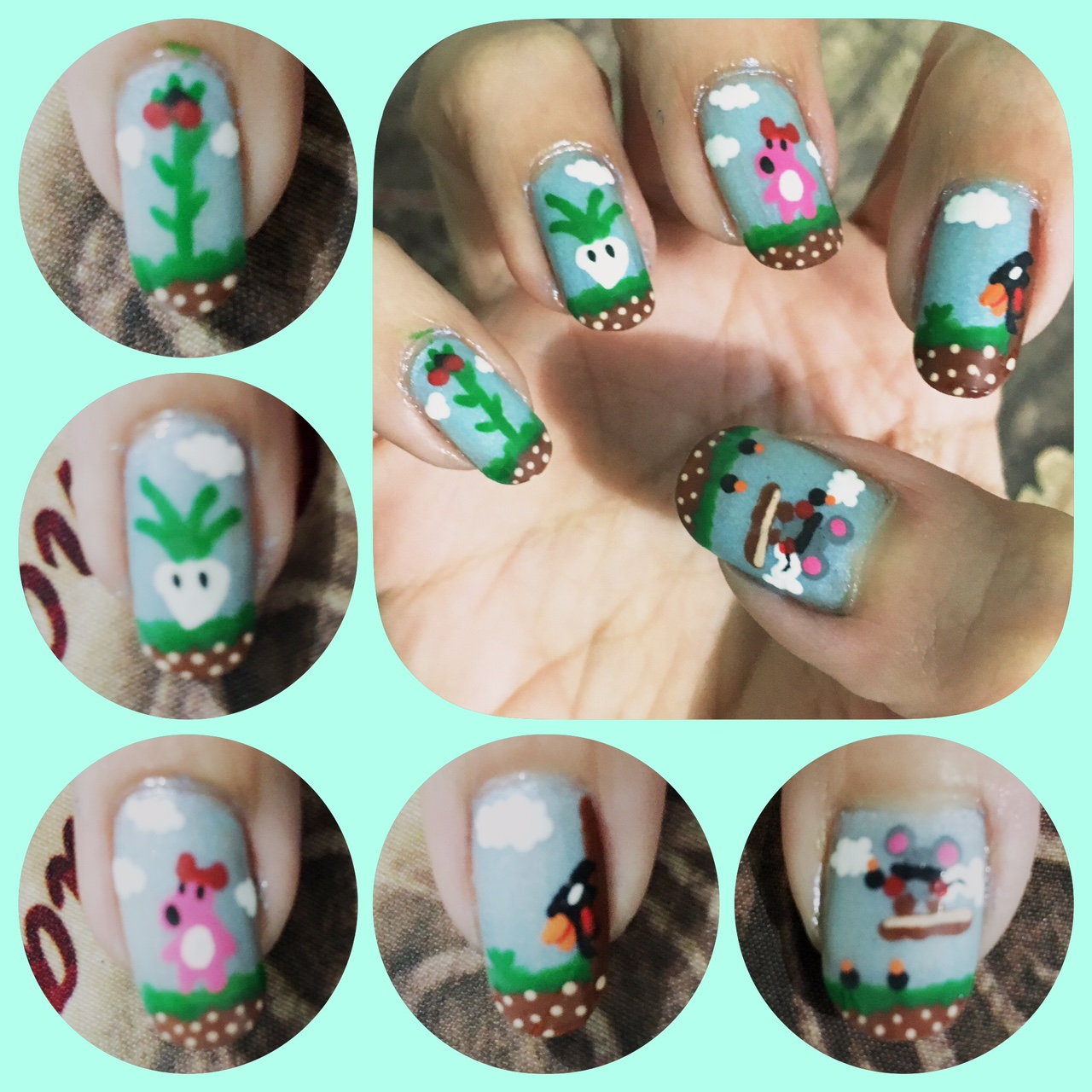 Mario 2 nail art right by AzureMikari