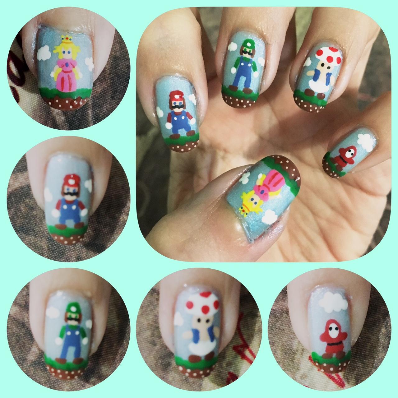 Mario 2 nail art left by AzureMikari