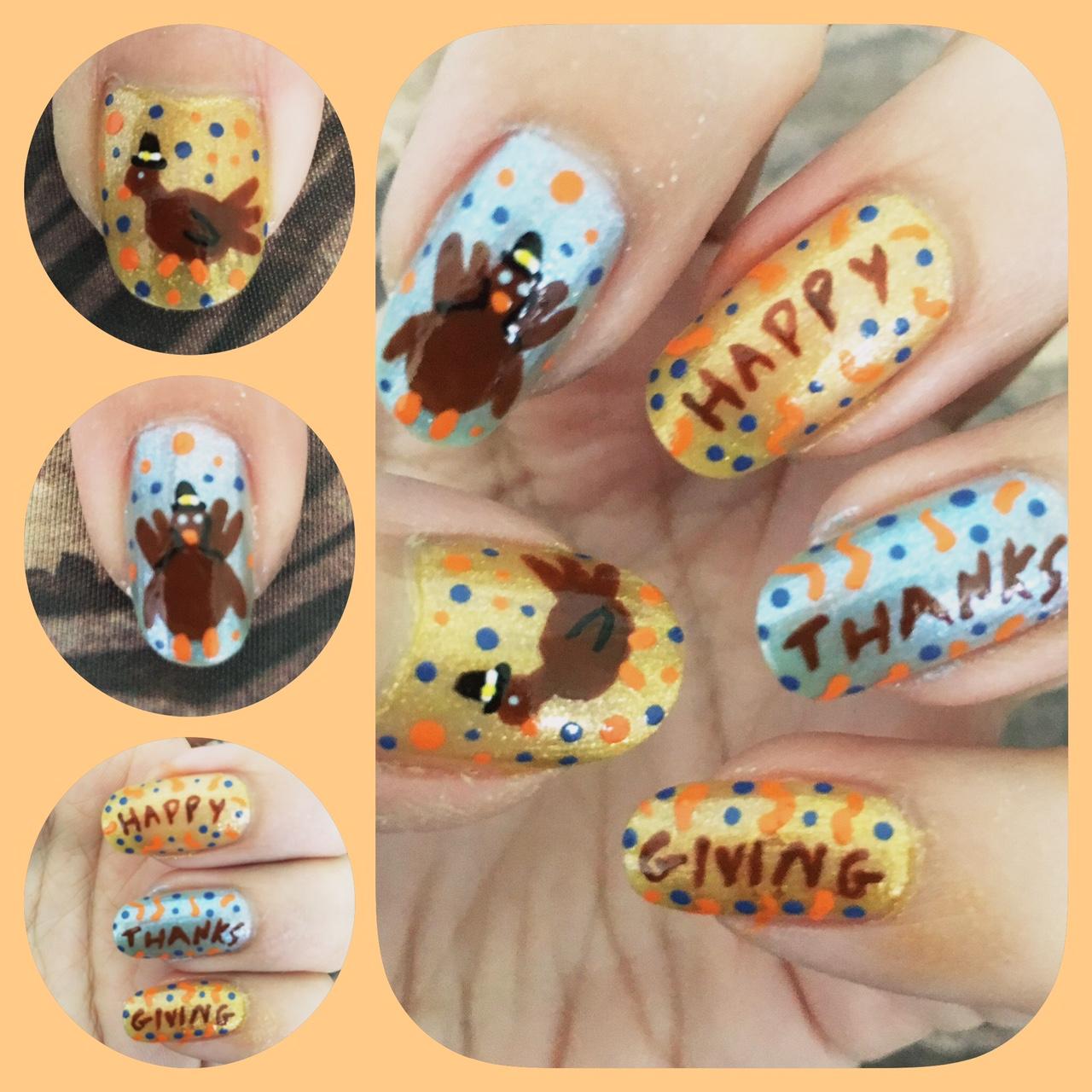 ThanksGiving Nail Art Left by AzureMikari