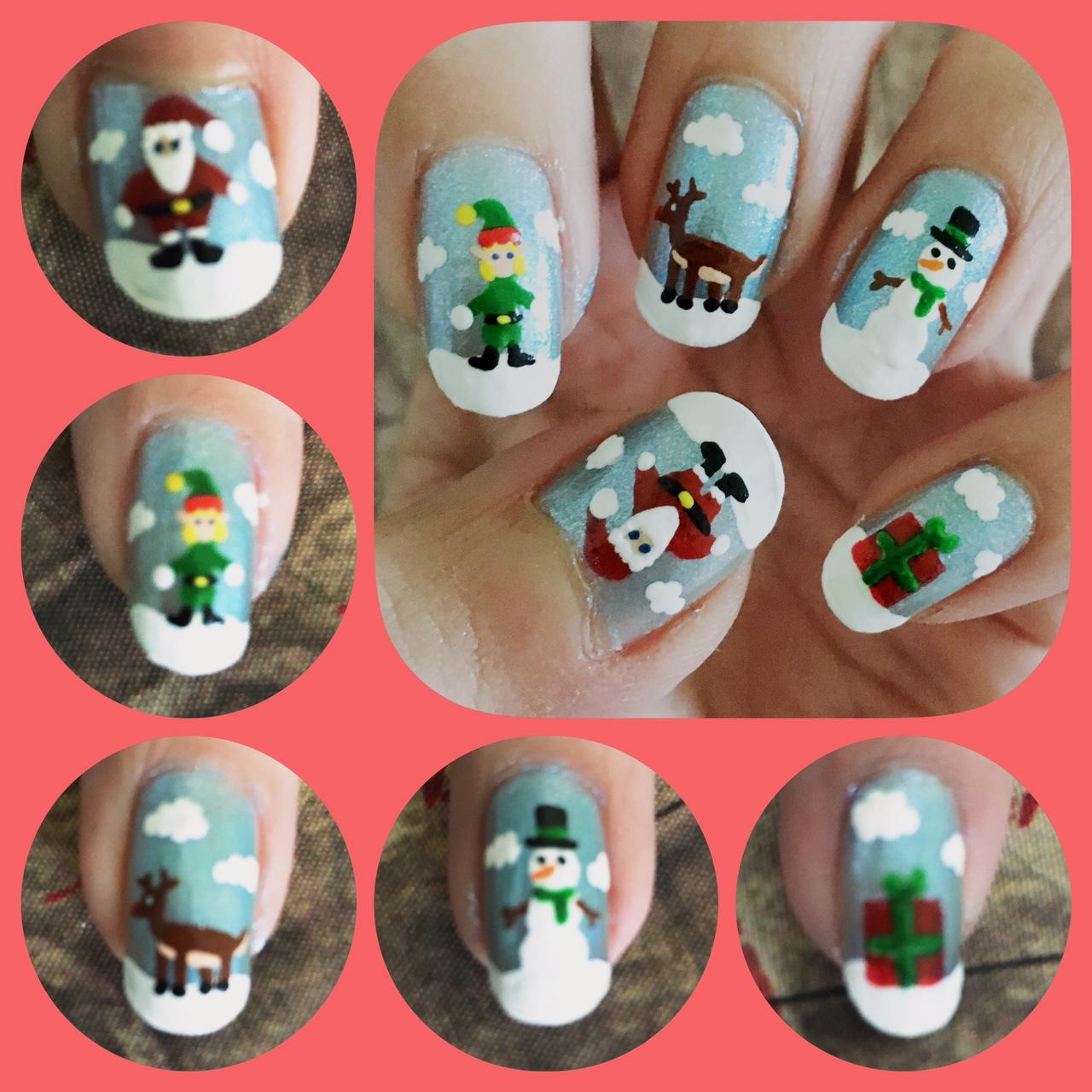 Christmas Nail Art 2016 Left by AzureMikari