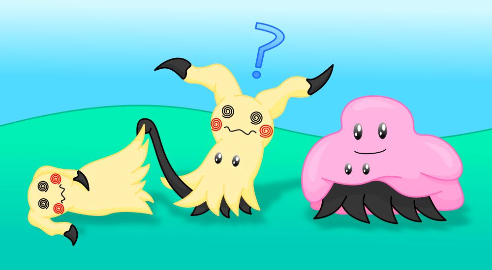 Mimikyu and Ditto (Pokemon) by AzureMikari
