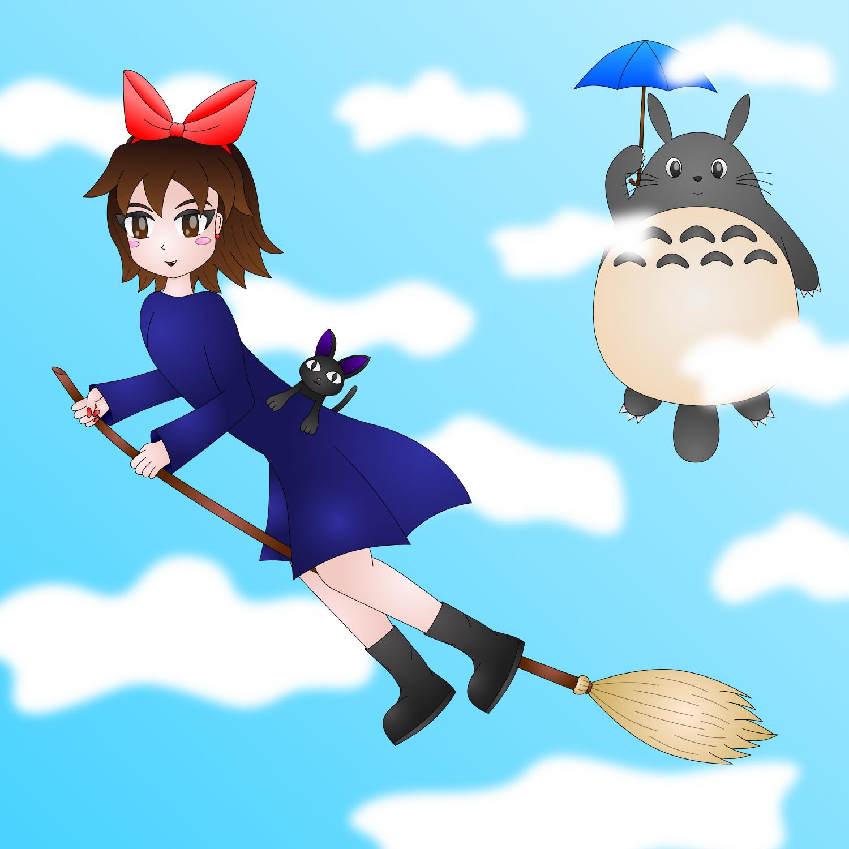 Kiki and Totoro by AzureMikari