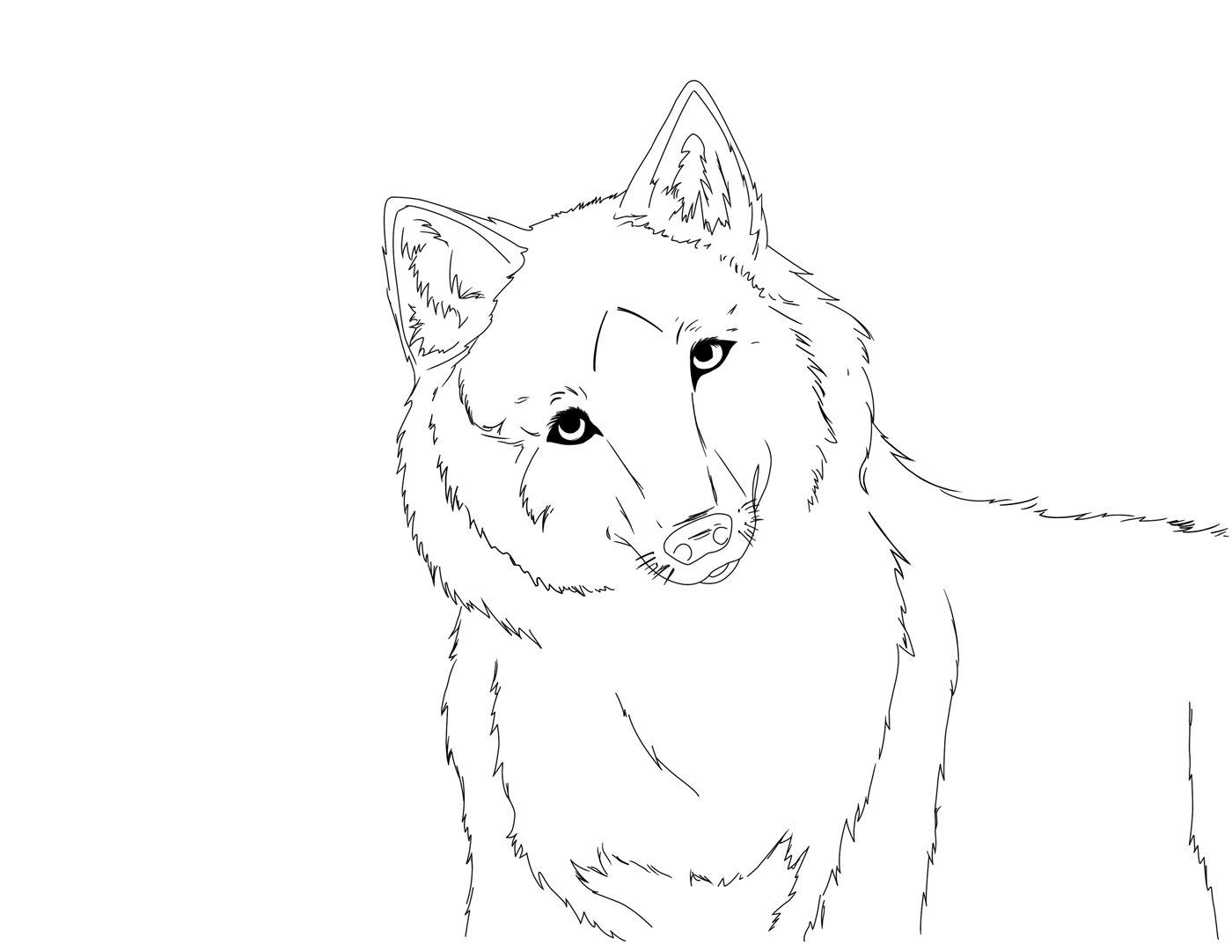 Wolf lineart by abcd123inuyasha