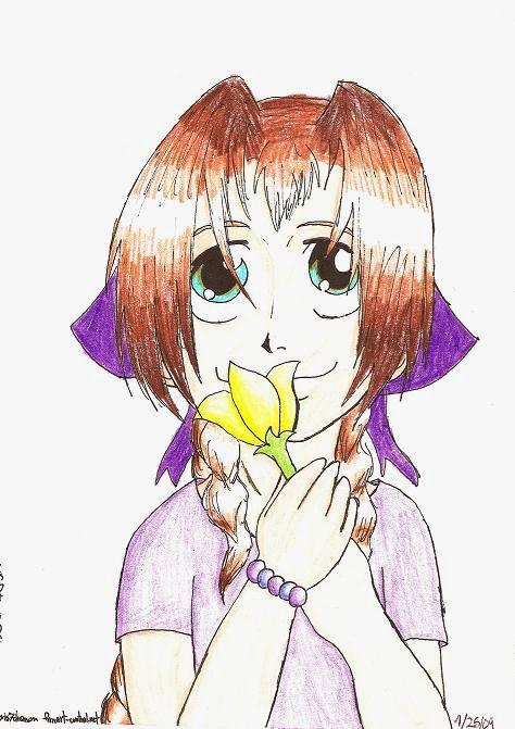 Aeris as a kid holding a flower by aeris7dragon