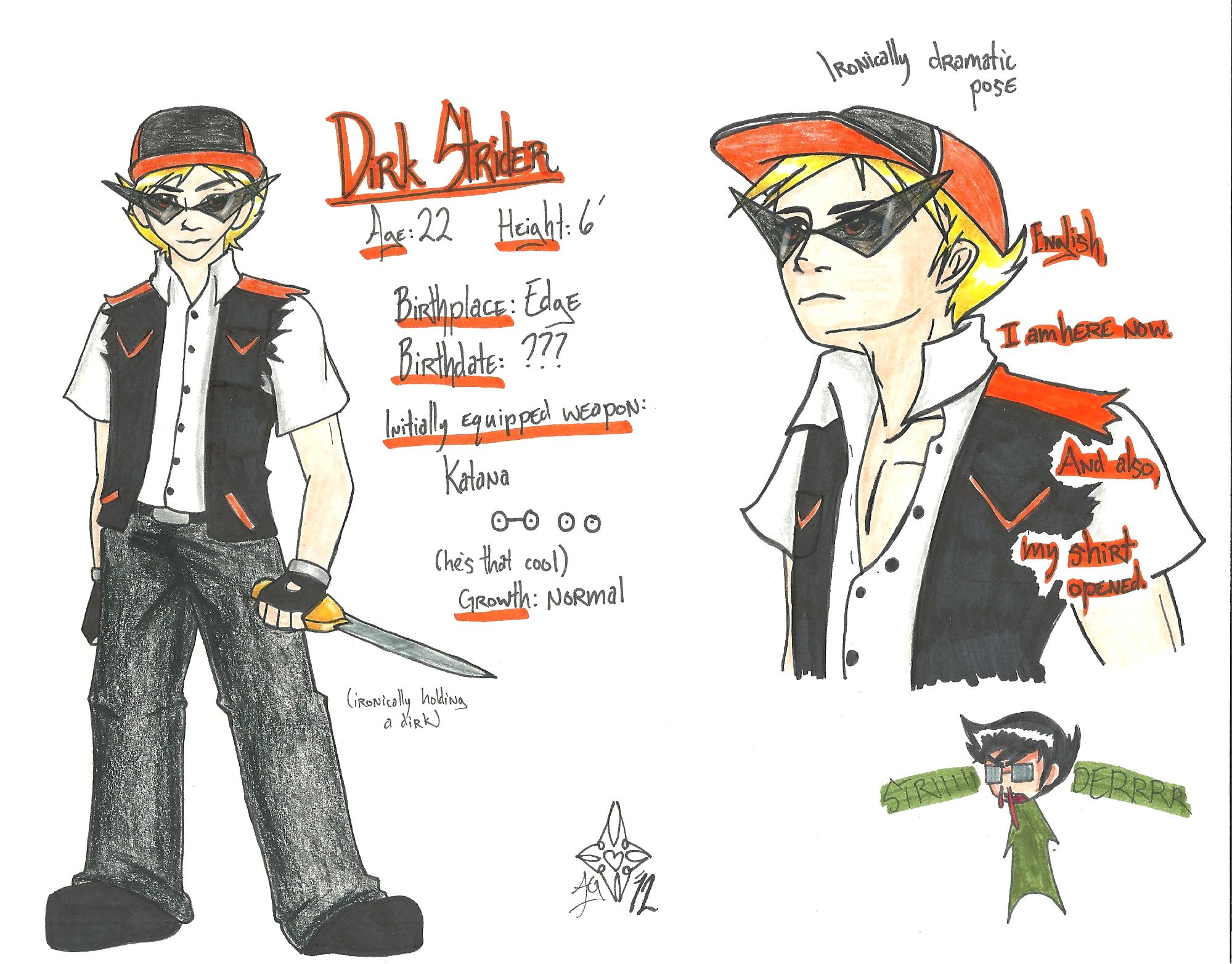 Midgarstuck - Character Designs - Dirk Strider by aeris7dragon