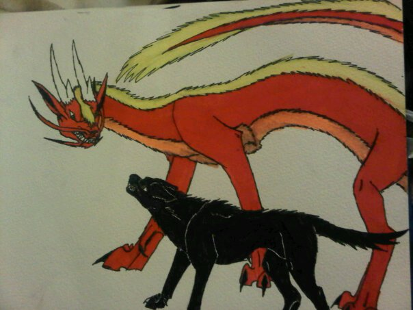 dog fighting an eastern dragon by anaithehedgehog1