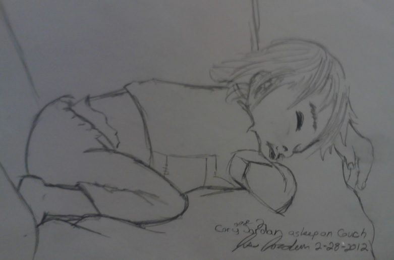 kid asleep on couch by artfreakjess1
