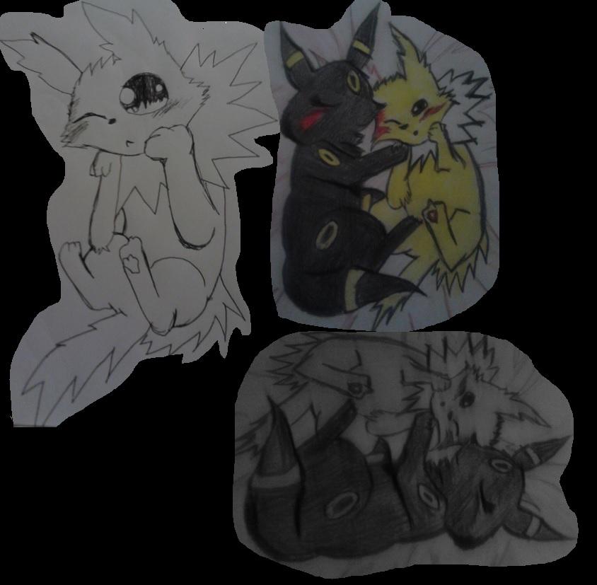 cuddling evee forms by artfreakjess1