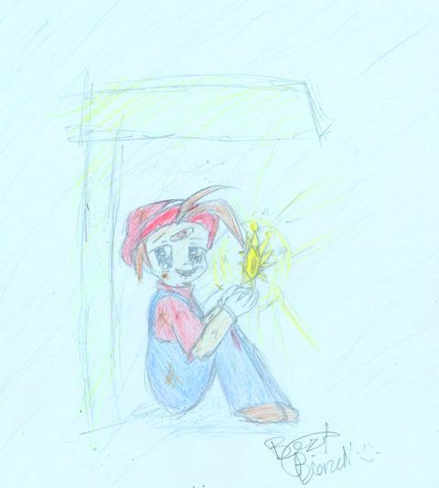 Sad Mario with a shine sprite by Bezt