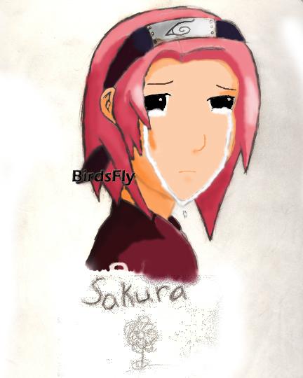 Sakura Crying Colored by Birdsfly