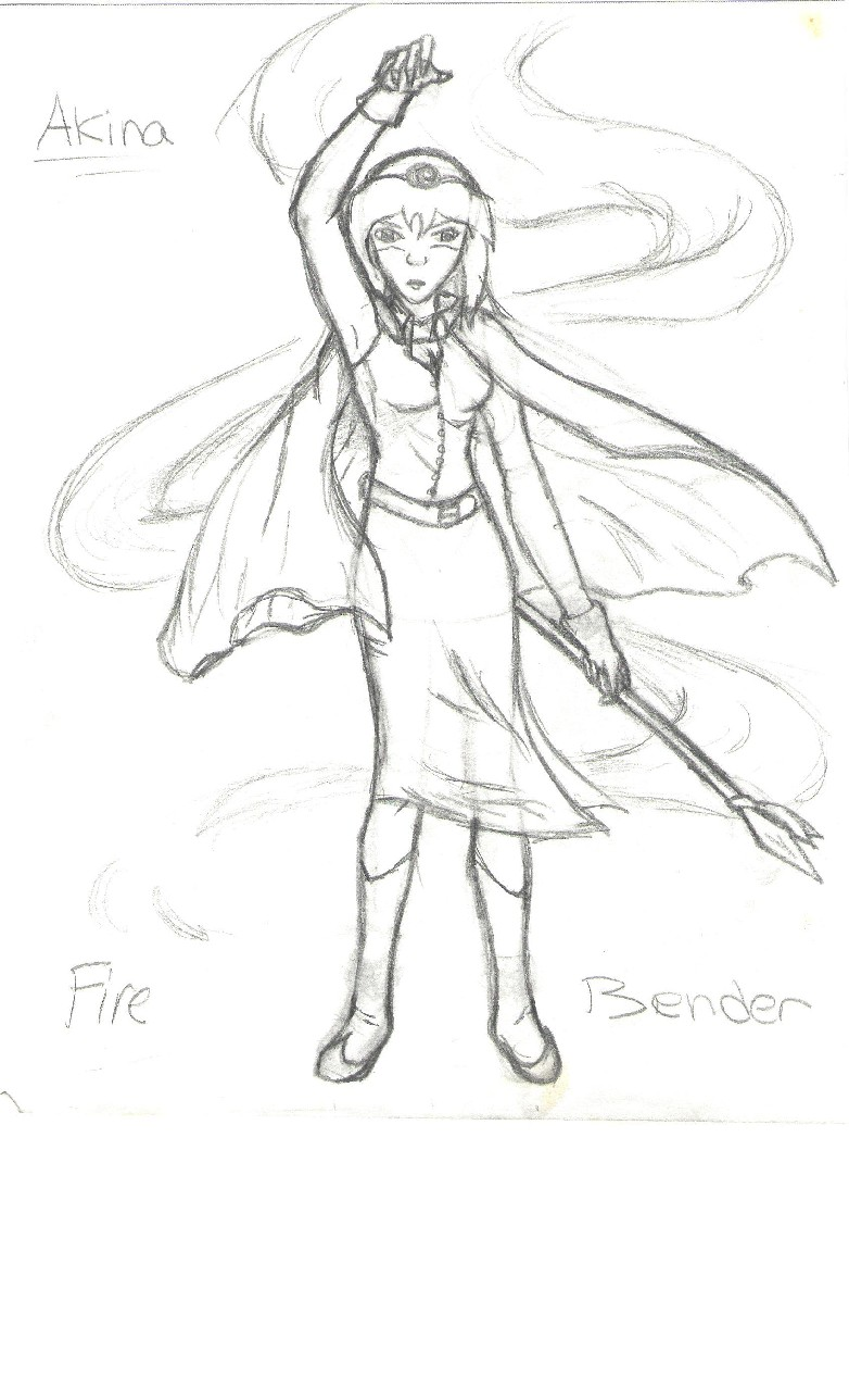 Akina:FireBender, sketch by BlackRose_Archer