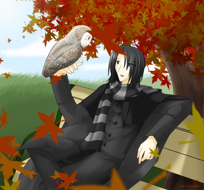 Autumn with Snape by BlueOkami