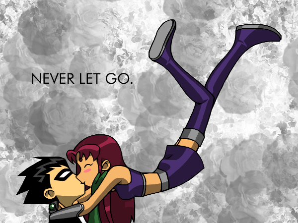 Robin and Starfire Kissing by Blue_Ten