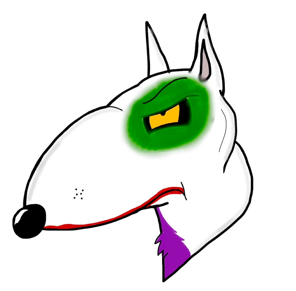 Joker bull terrier headshot by BtasJokerFan