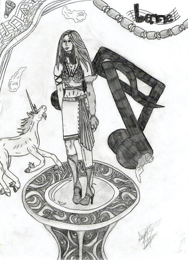 Lenne with unicorn and music notes by black_winged_white_angel