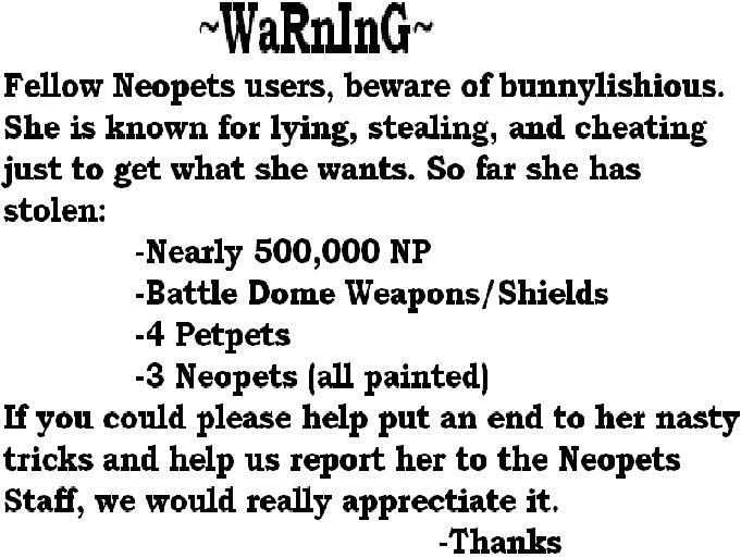 Warning For Neopets Users by blackfire