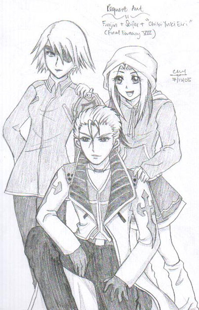 "Req. Art - ""ChibiYukiEiri"", Seifer & Fuujin (ff8) by blackwings"