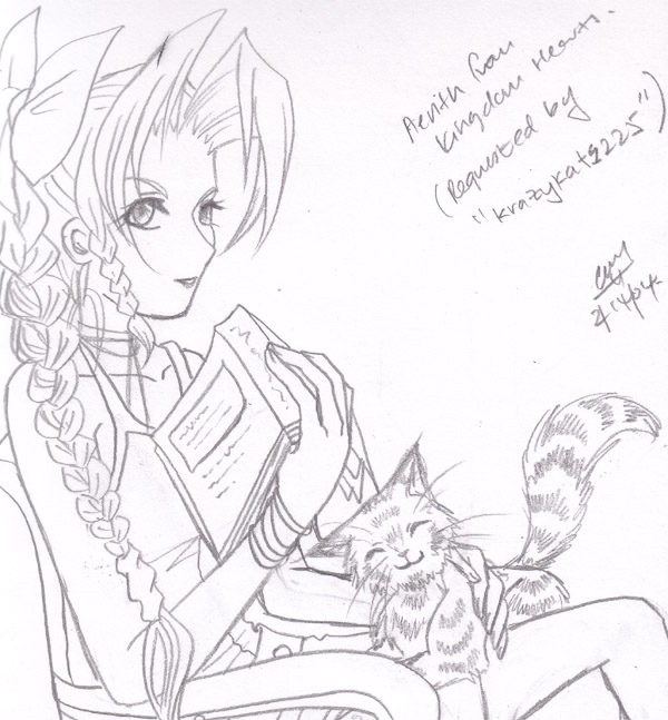 """Request Art - """"Aerith & Kitty"""" (Kingdom Hearts) by blackwings"""