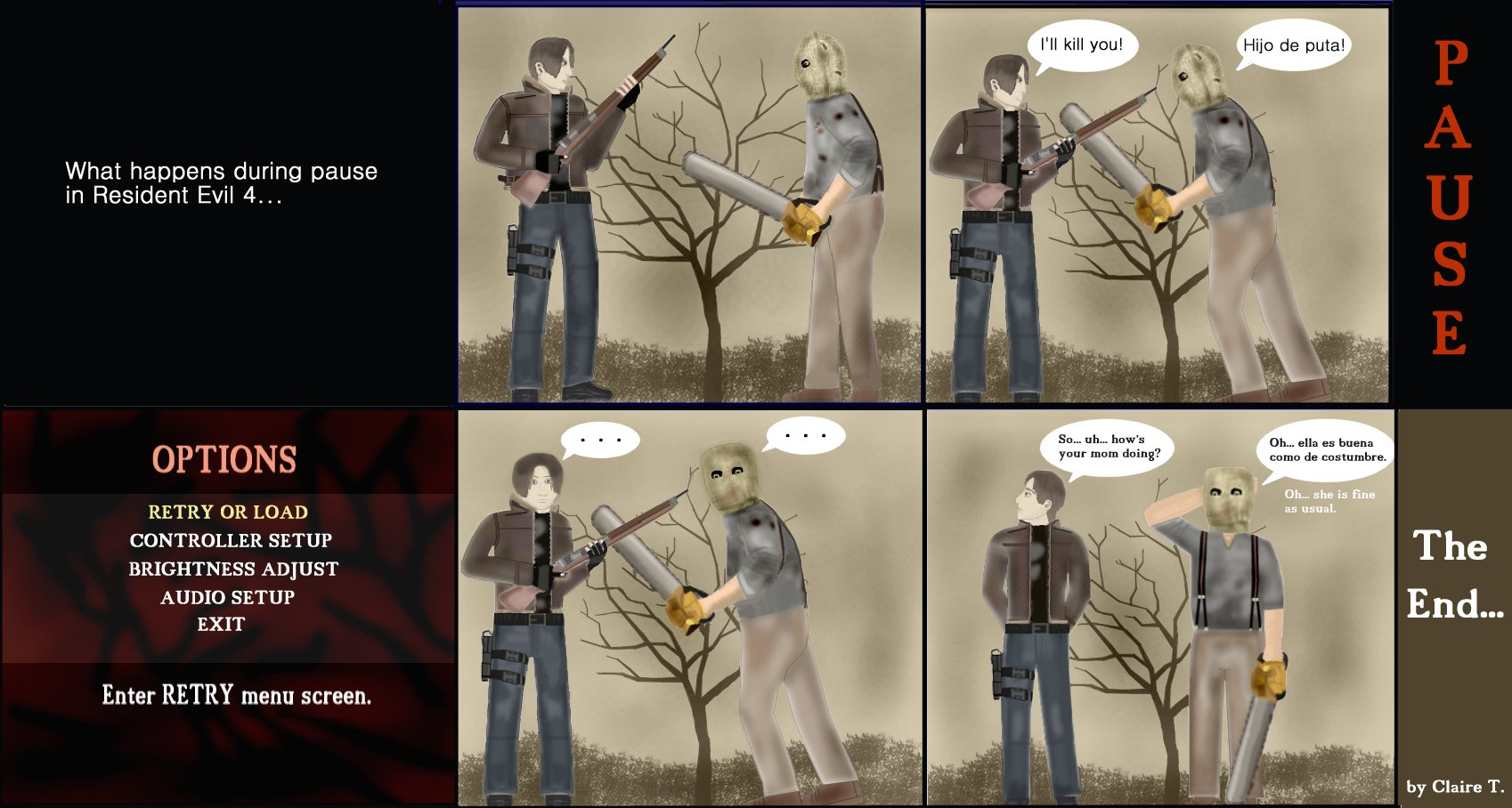 What happens during pause in RE 4 by bluefairy421