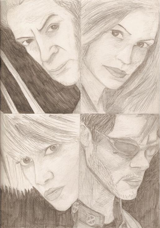 Wolverine, Jean, Storm, Cyclops by bufstk