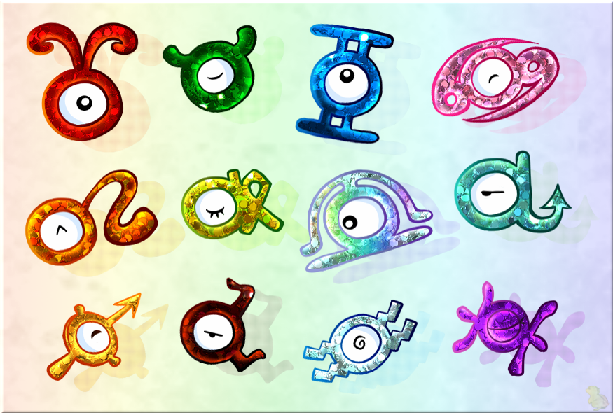 Unown Zodiac by CRwixey