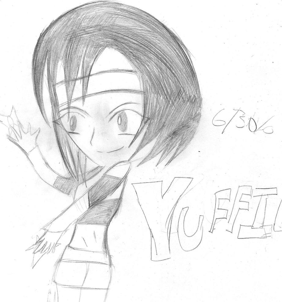 Yuffie with a shuriken by Candycane9