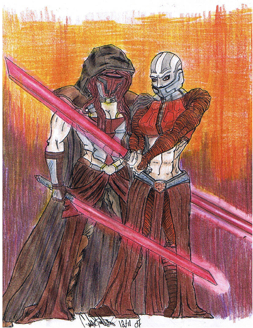 Female Revan and Malak by CatLady