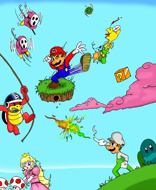 Mario Bros in action by Cataquack2Reacto