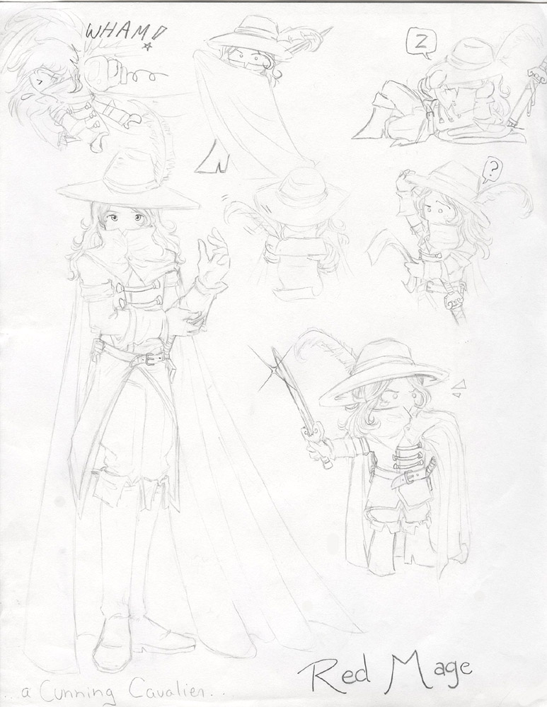 Character Sketches - Red Mage by CelebrenIthil