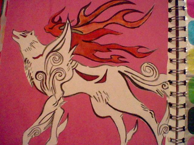 okami painting by Charlyfinn18
