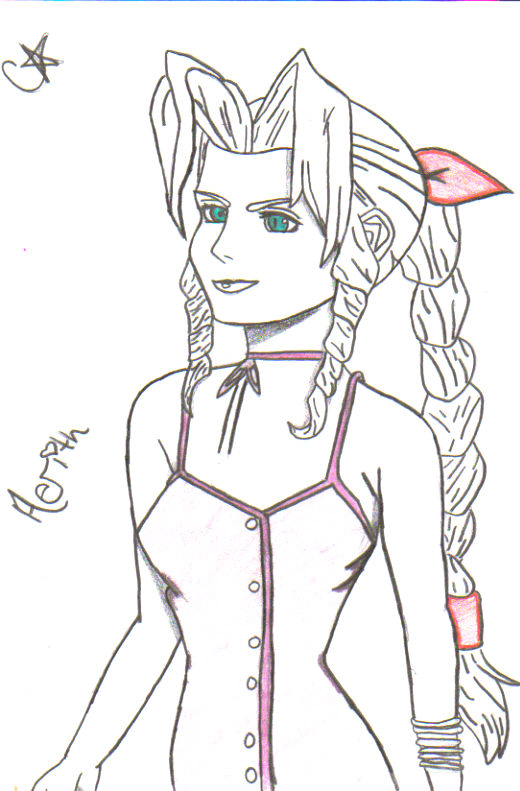 Pencil sketch Aerith by CourtneySoraRiku69