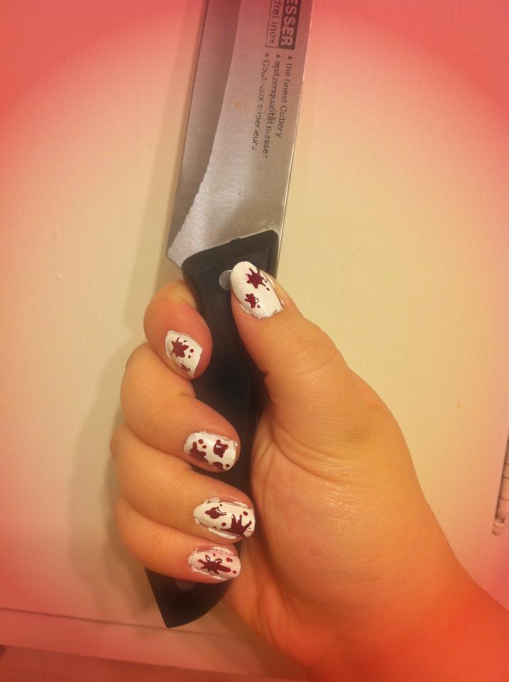 Blood Splatter Nails by CrazyForJapan123